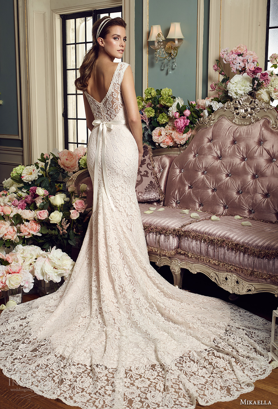 mikaella fall 2017 bridal sleeveless illusion bateau sweetheart neckline full embellishment elegant fit and flare wedding dress v back chapel train (2157) bv