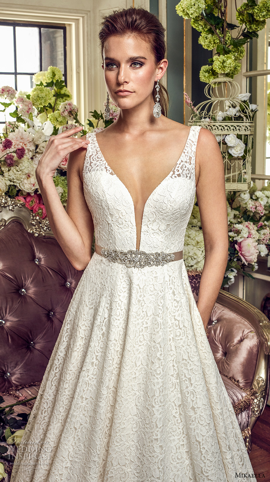 mikaella fall 2017 bridal sleeveless thick strap deep plunging sweetheart neckline full embellishment romantic a  line wedding dress open v back chapel train (2167) zv