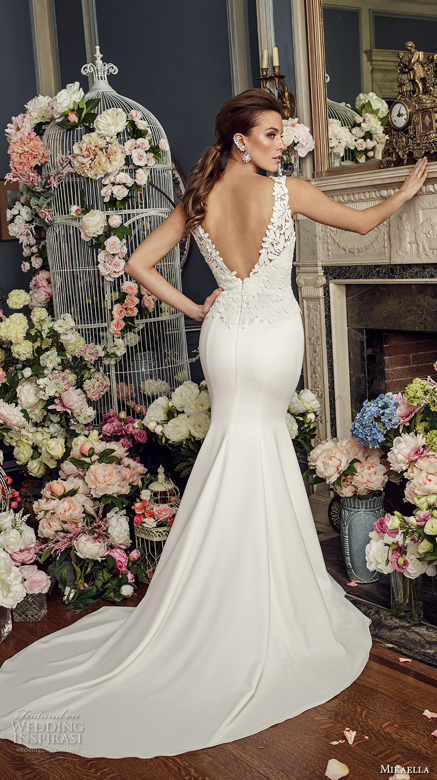 mikaella fall 2017 bridal sleeveless thick strap deep plunging v neck heavily embellished bodice satin skirt elegant sheath wedding dress open v back chapel train (2160) bv