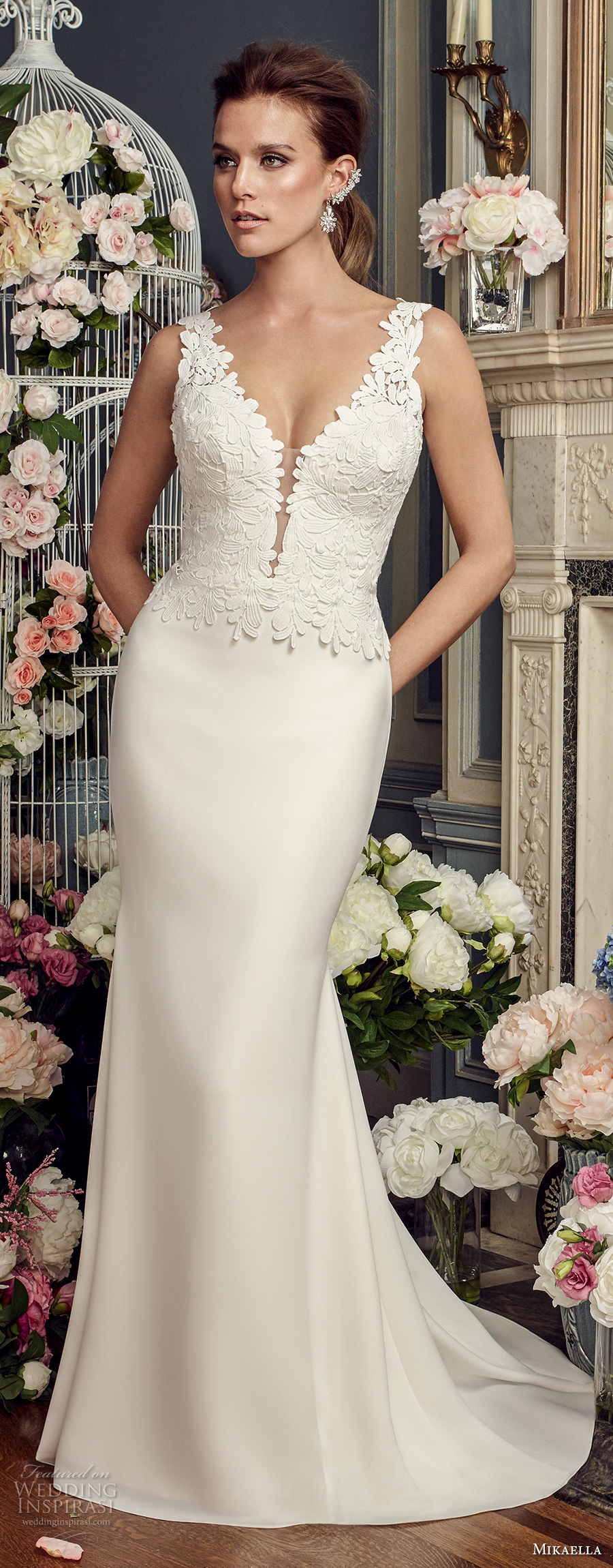 mikaella fall 2017 bridal sleeveless thick strap deep plunging v neck heavily embellished bodice satin skirt elegant sheath wedding dress open v back chapel train (2160) mv
