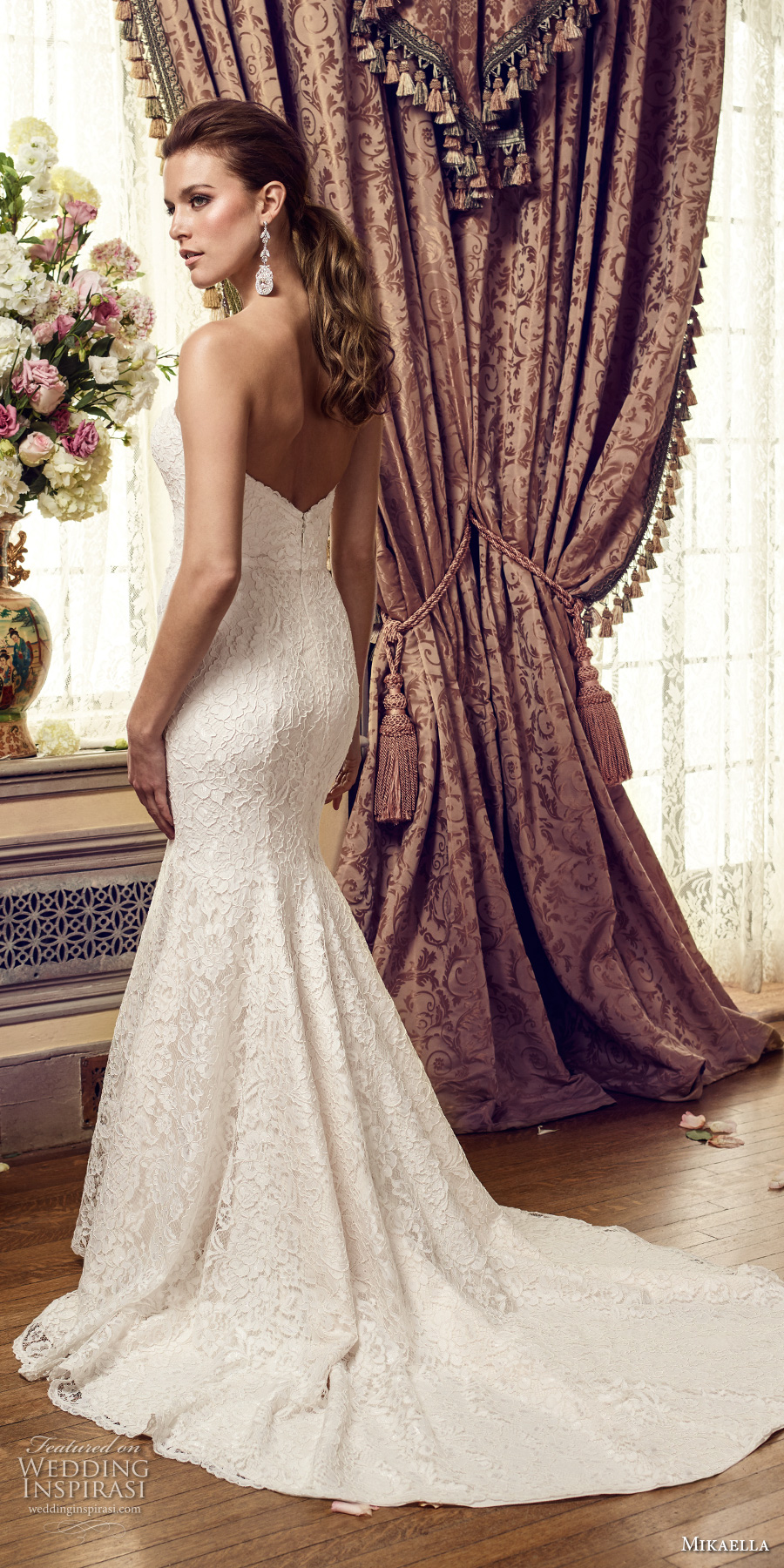 mikaella fall 2017 bridal strapless deep plunging sweetheart neckline heavily embellished bodice romantic elegant fit and flare medium train (2152) bv