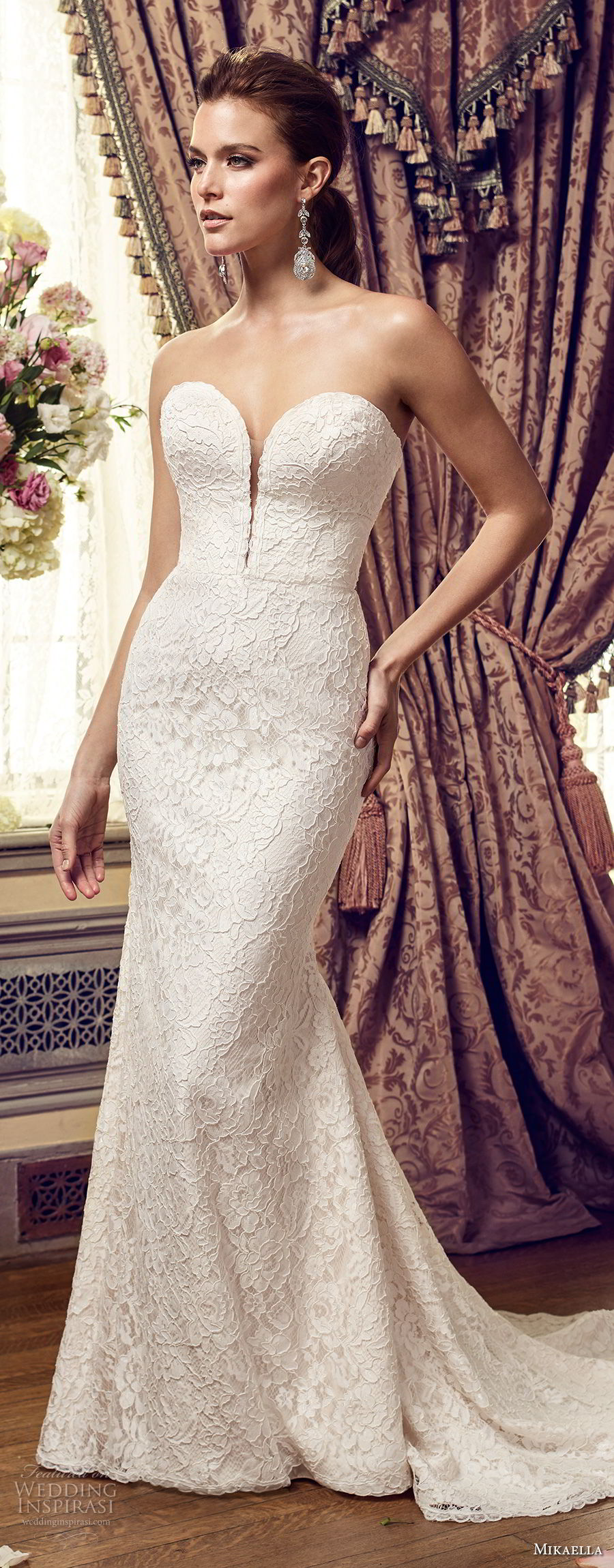 mikaella fall 2017 bridal strapless deep plunging sweetheart neckline heavily embellished bodice romantic elegant fit and flare medium train (2152) mv