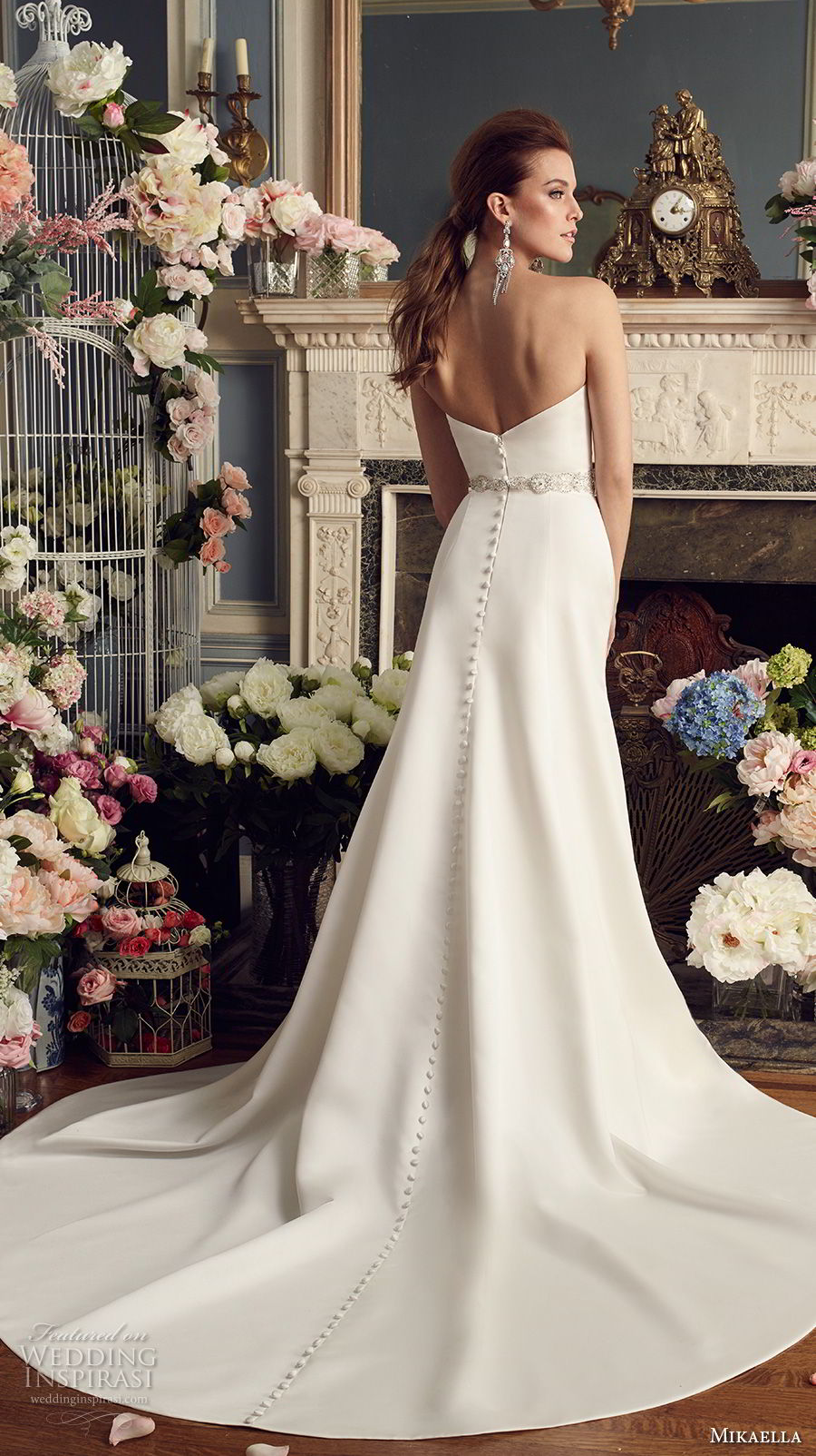 mikaella fall 2017 bridal strapless semi sweetheart neckline simple clean classic elegant a  line wedding dress chapel train (2170) bv
