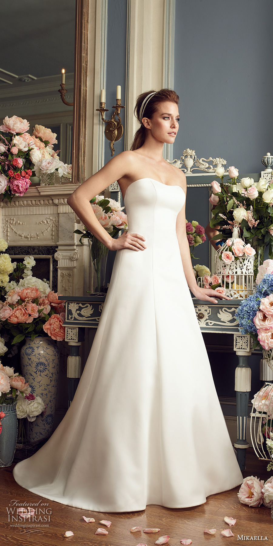 mikaella fall 2017 bridal strapless semi sweetheart neckline simple clean elegant classic a  line wedding dress open strap back long train (2166) mv