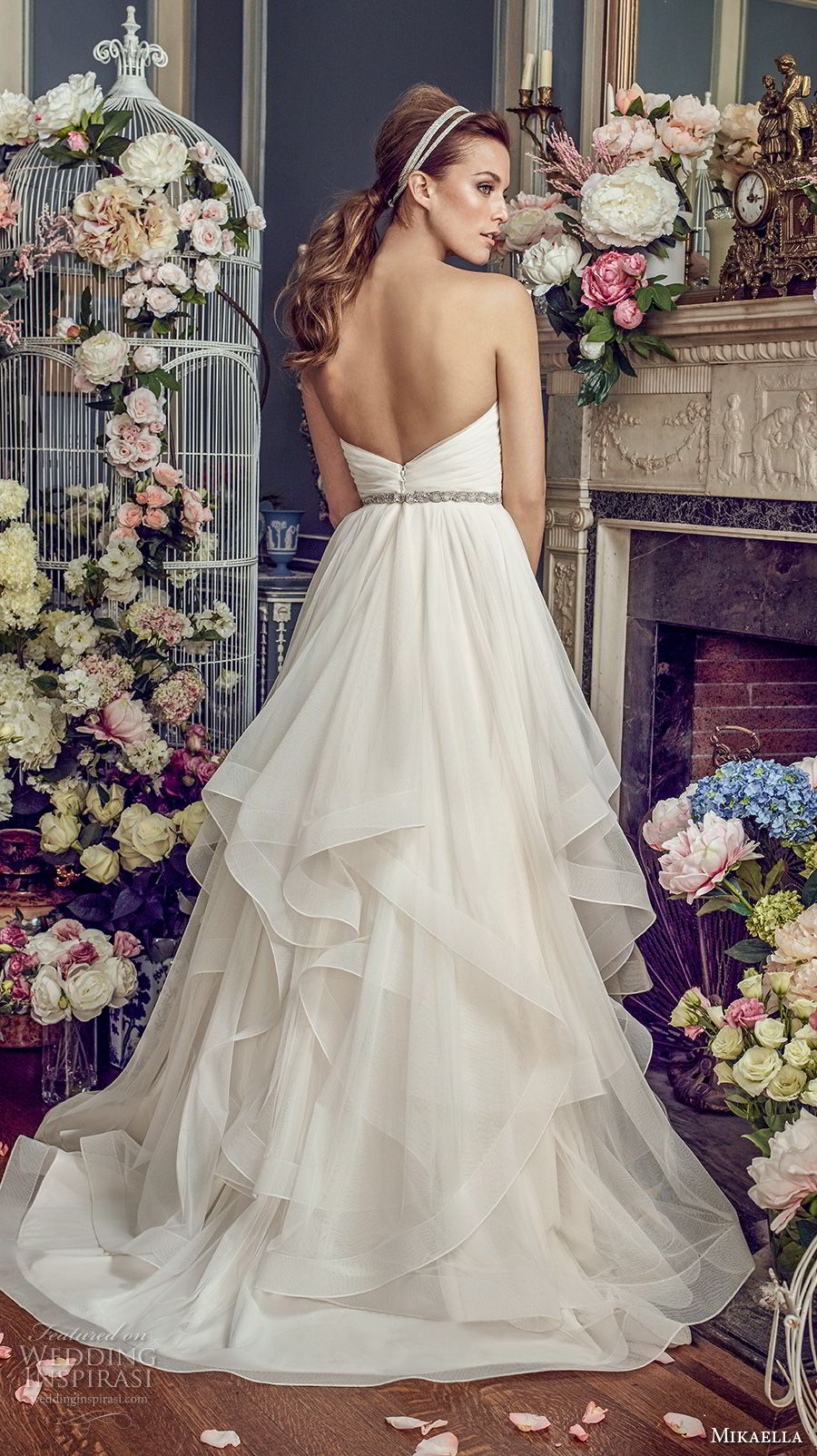 mikaella fall 2017 bridal strapless sweetheart neckline surplice ruched bodice layered skirt romanitc pretty a  line wedding dress medium train (2164) bv