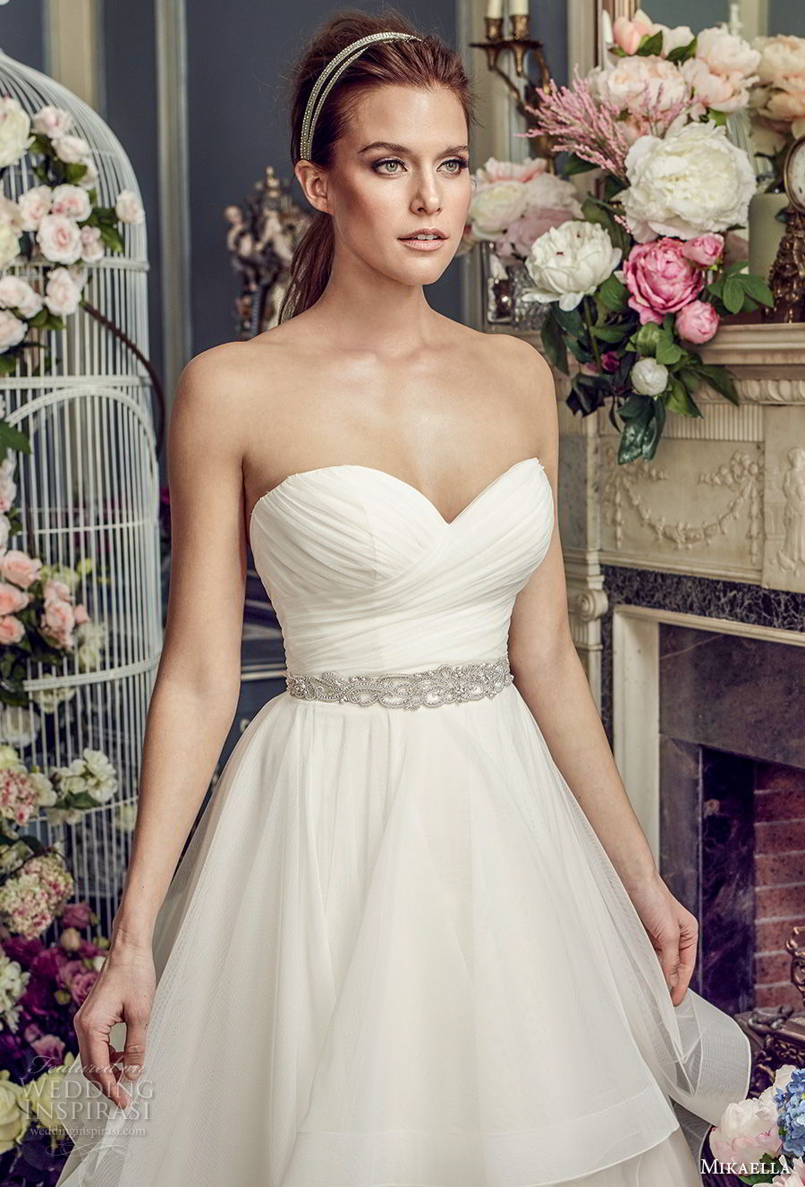 mikaella fall 2017 bridal strapless sweetheart neckline surplice ruched bodice layered skirt romanitc pretty a  line wedding dress medium train (2164) zv