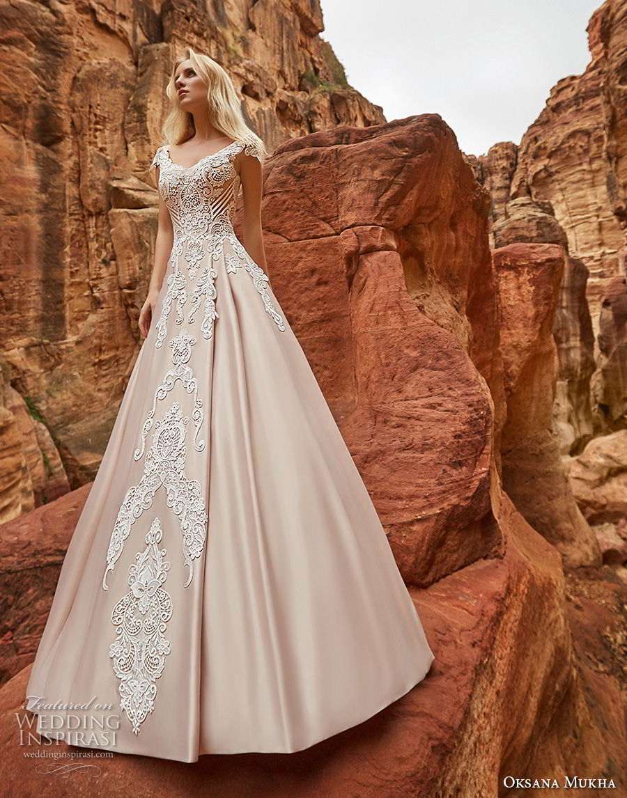 oksana mukha 2018 bridal cap sleeves v neck heavily embellished bodice romantic princess a  line wedding dress corset back chapel train (isadora) fv