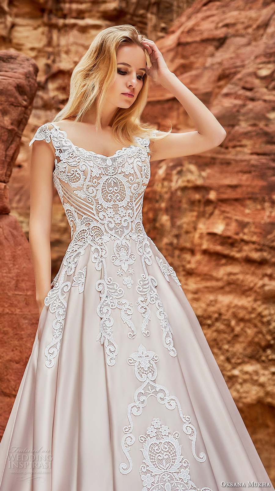 oksana mukha 2018 bridal cap sleeves v neck heavily embellished bodice romantic princess a  line wedding dress corset back chapel train (isadora) zv