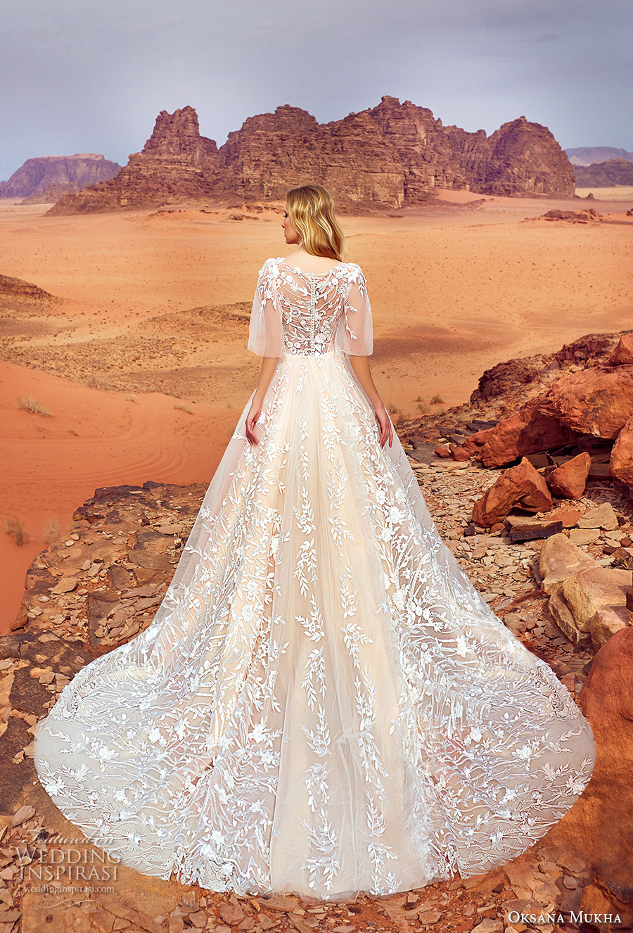 oksana mukha 2018 bridal half angel sleeves v neck full embellishment romantic a  line wedding dress covered lace back royal train (jadice) bv