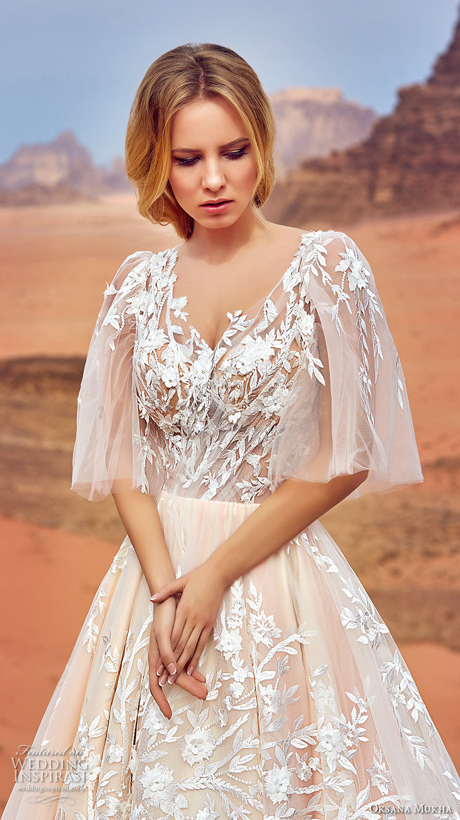 oksana mukha 2018 bridal half angel sleeves v neck full embellishment romantic a line wedding dress covered lace back royal train (jadice) zv