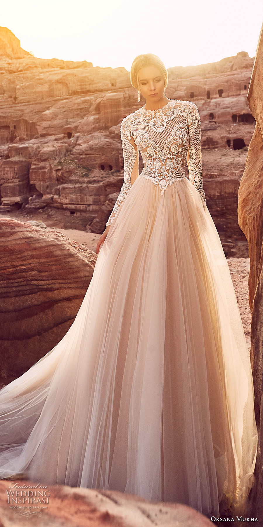oksana mukha 2018 bridal long sleeves jewel neck heavily embellished lace bodice tulle skirt romantic a line wedding dress covered lace back royal train (khalissa) mv
