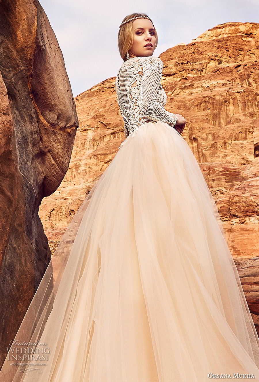 oksana mukha 2018 bridal long sleeves jewel neck heavily embellished lace bodice tulle skirt romantic a  line wedding dress covered lace back royal train (khalissa) zbv
