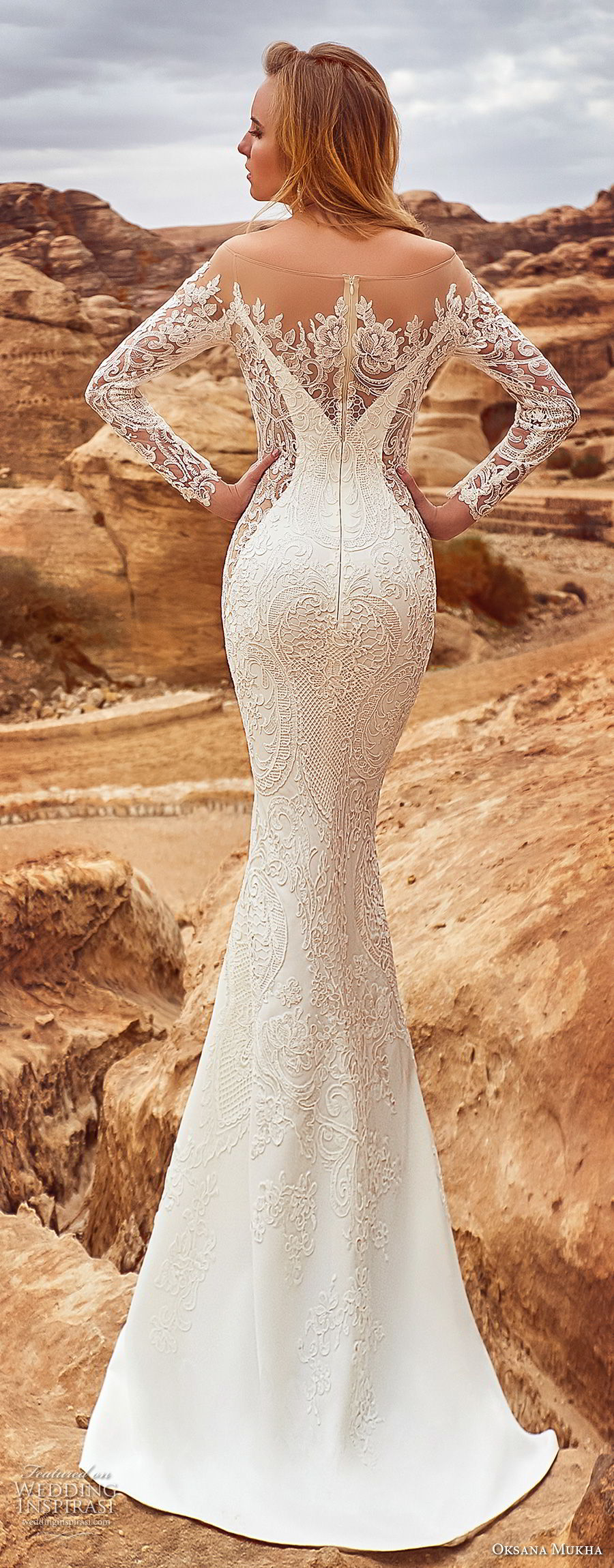 oksana mukha 2018 bridal long sleeves off the shoulder sweetheart neckline full embellishment elegant glamorous fit and flare wedding dress sheer lace back sweep train (armadea) bv