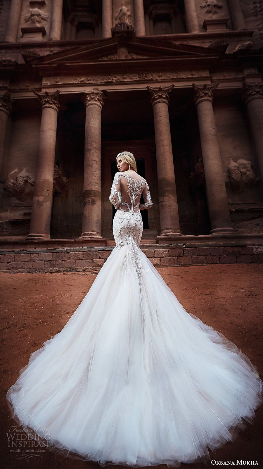 oksana mukha 2018 bridal long sleeves sweetheart neckline full embellishment tulle skirt glamorous mermaid wedding dress covered lace back royal train (armani) bv