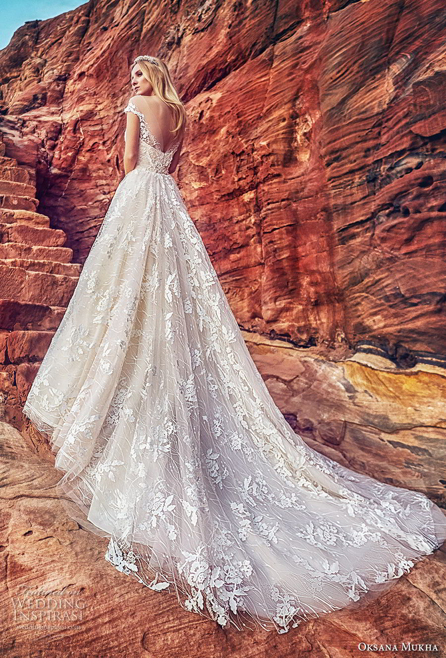 oksana mukha 2018 bridal off the shoulder deep plunging sweetheart neck full embellishment princess ball gown wedding dress open v back royal train (aura) bv