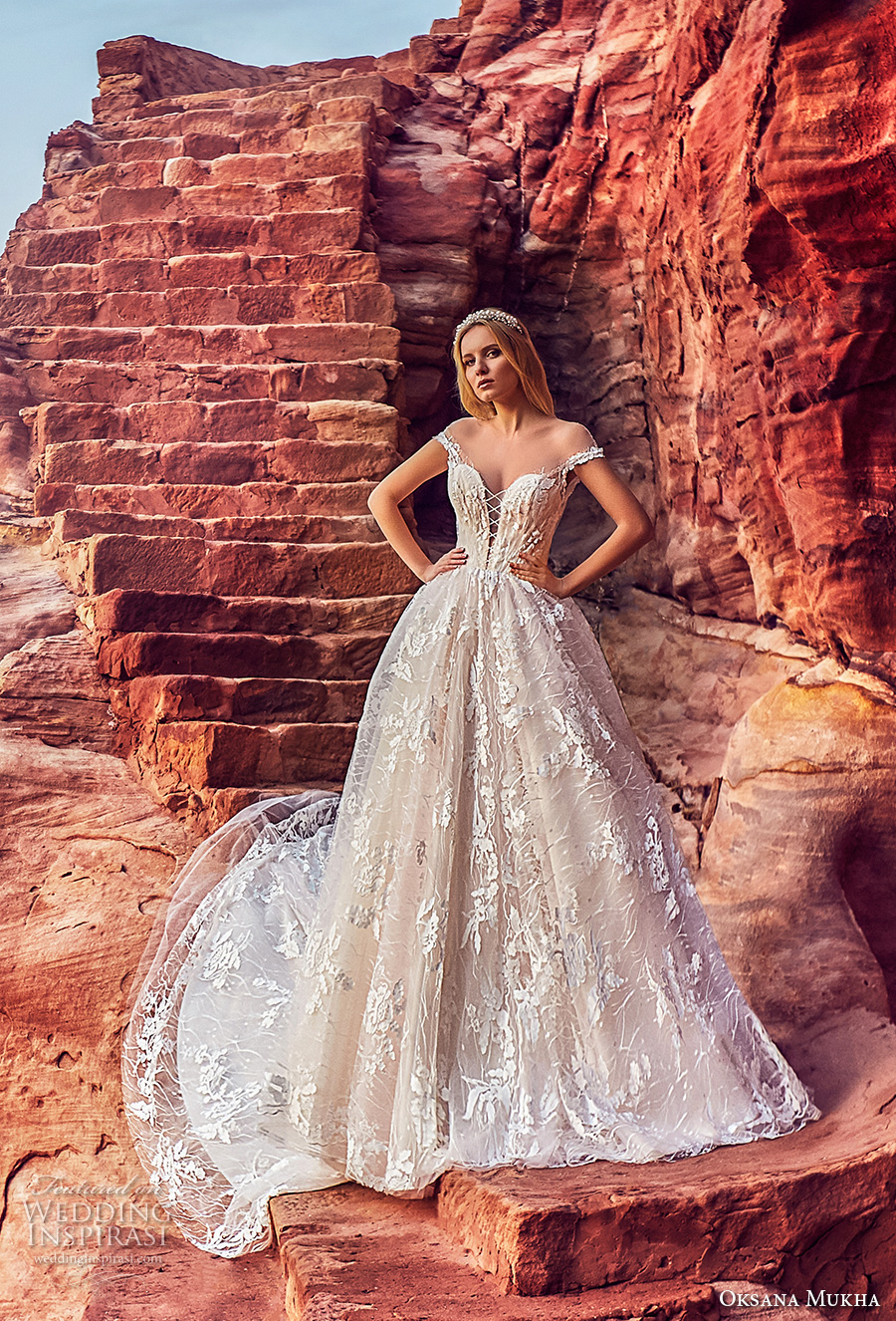 oksana mukha 2018 bridal off the shoulder deep plunging sweetheart neck full embellishment princess ball gown wedding dress open v back royal train (aura) mv