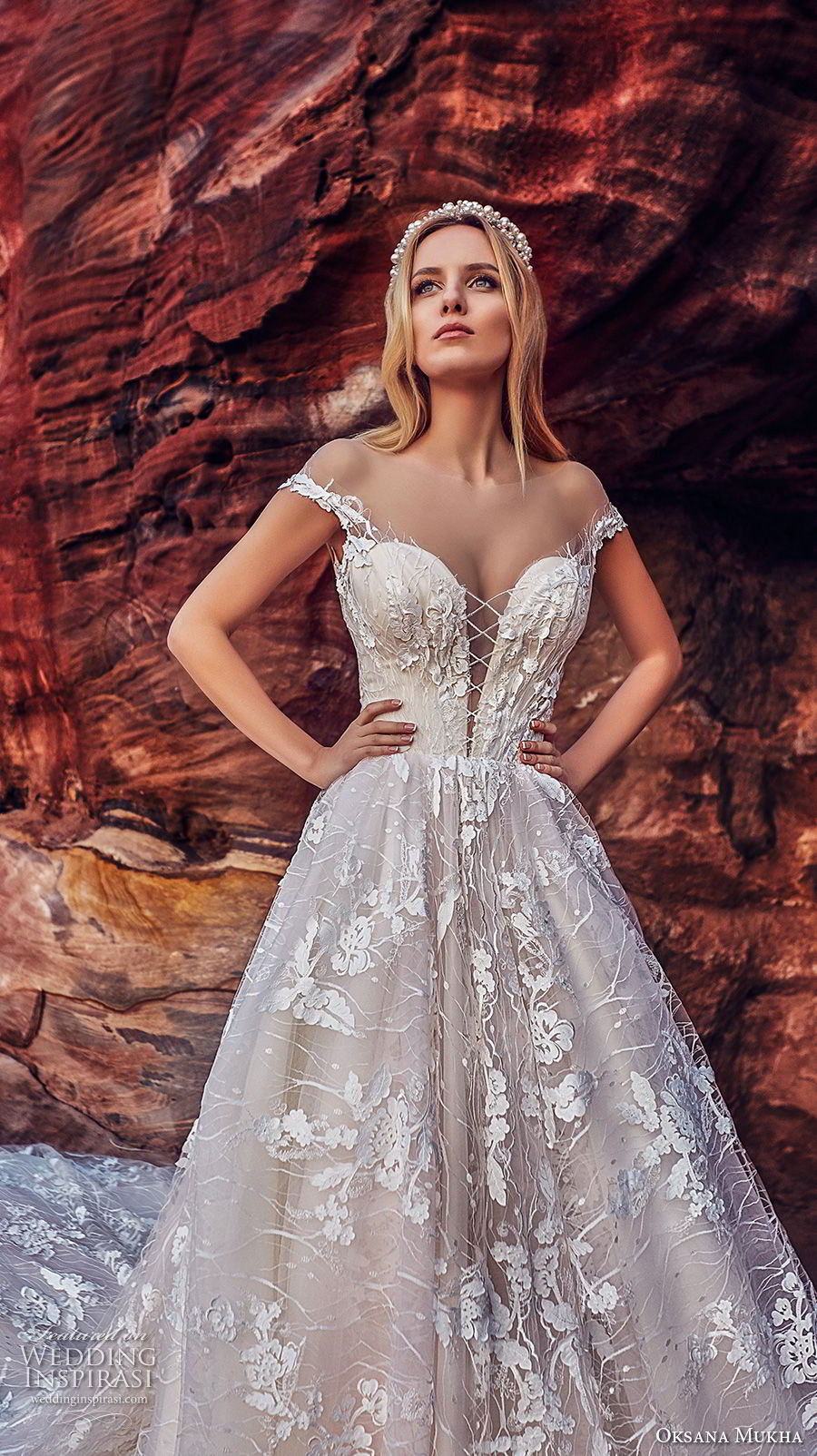 oksana mukha 2018 bridal off the shoulder deep plunging sweetheart neck full embellishment princess ball gown wedding dress open v back royal train (aura) zv
