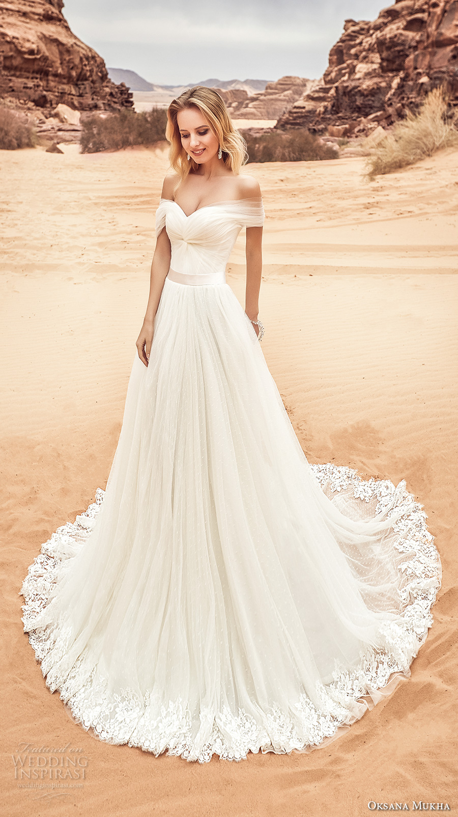 oksana mukha 2018 bridal off the shoulder sweetheart neckline ruched bodice tullel skirt romantic a line wedding dress corset back chapel train (lila) mv