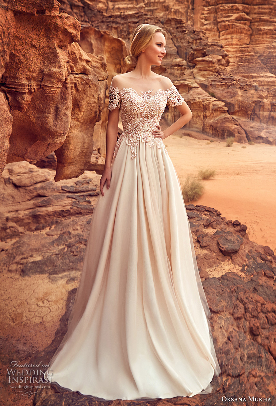 oksana mukha 2018 bridal short sleeves off the shoulder semi sweetheart neckline heavily embellished bodice romantic a  line wedding dress covered lace back sweep train (libia) mv