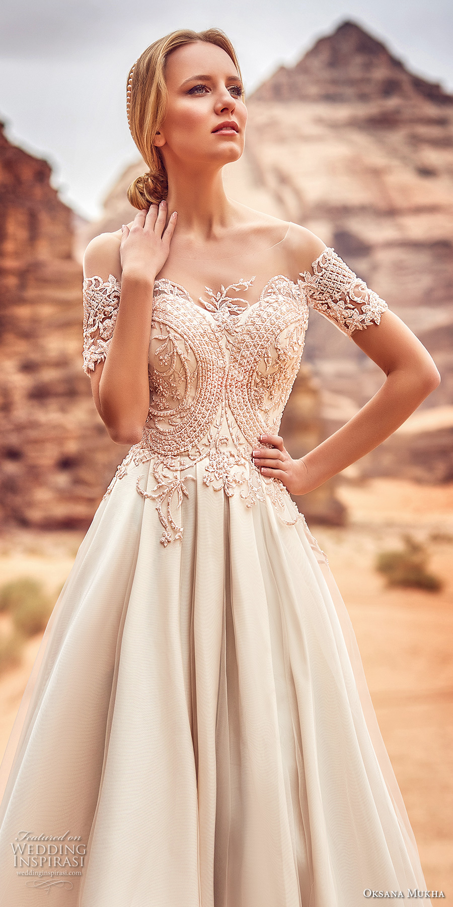 oksana mukha 2018 bridal short sleeves off the shoulder semi sweetheart neckline heavily embellished bodice romantic a  line wedding dress covered lace back sweep train (libia) zv