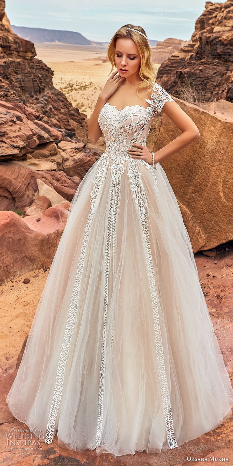 oksana mukha 2018 bridal short sleeves seeetheart neckline heavily embellished bodice romantic princess a  line wedding dress mid back chapel train (mariella) mv