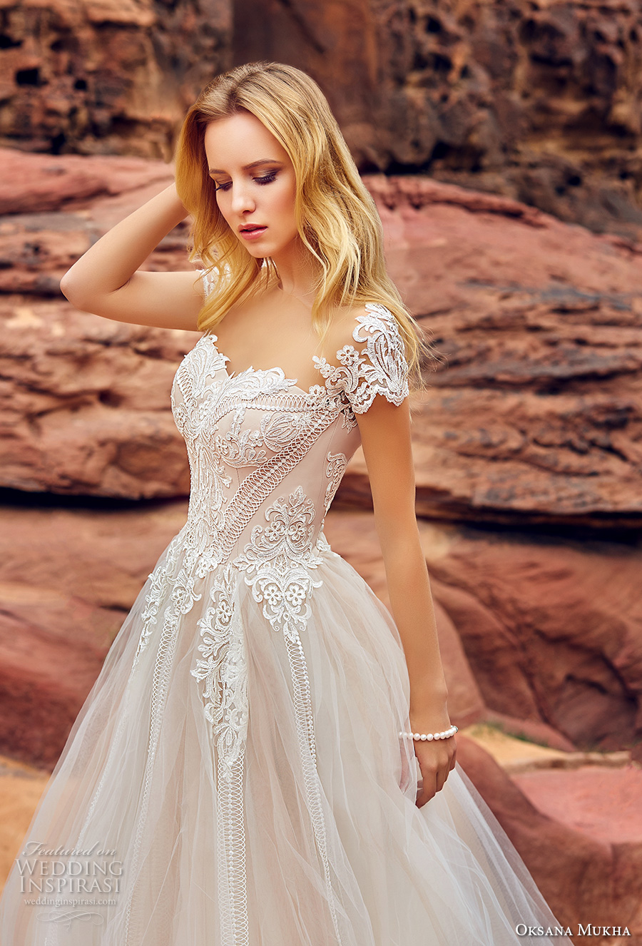oksana mukha 2018 bridal short sleeves seeetheart neckline heavily embellished bodice romantic princess a line wedding dress mid back chapel train (mariella) zv
