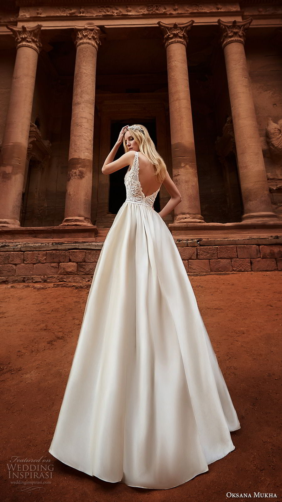 oksana mukha 2018 bridal sleeveless with strap scoop neckline heavily embellished bodice romantic a  line wedding dress open v back chapel train (jordania) bv