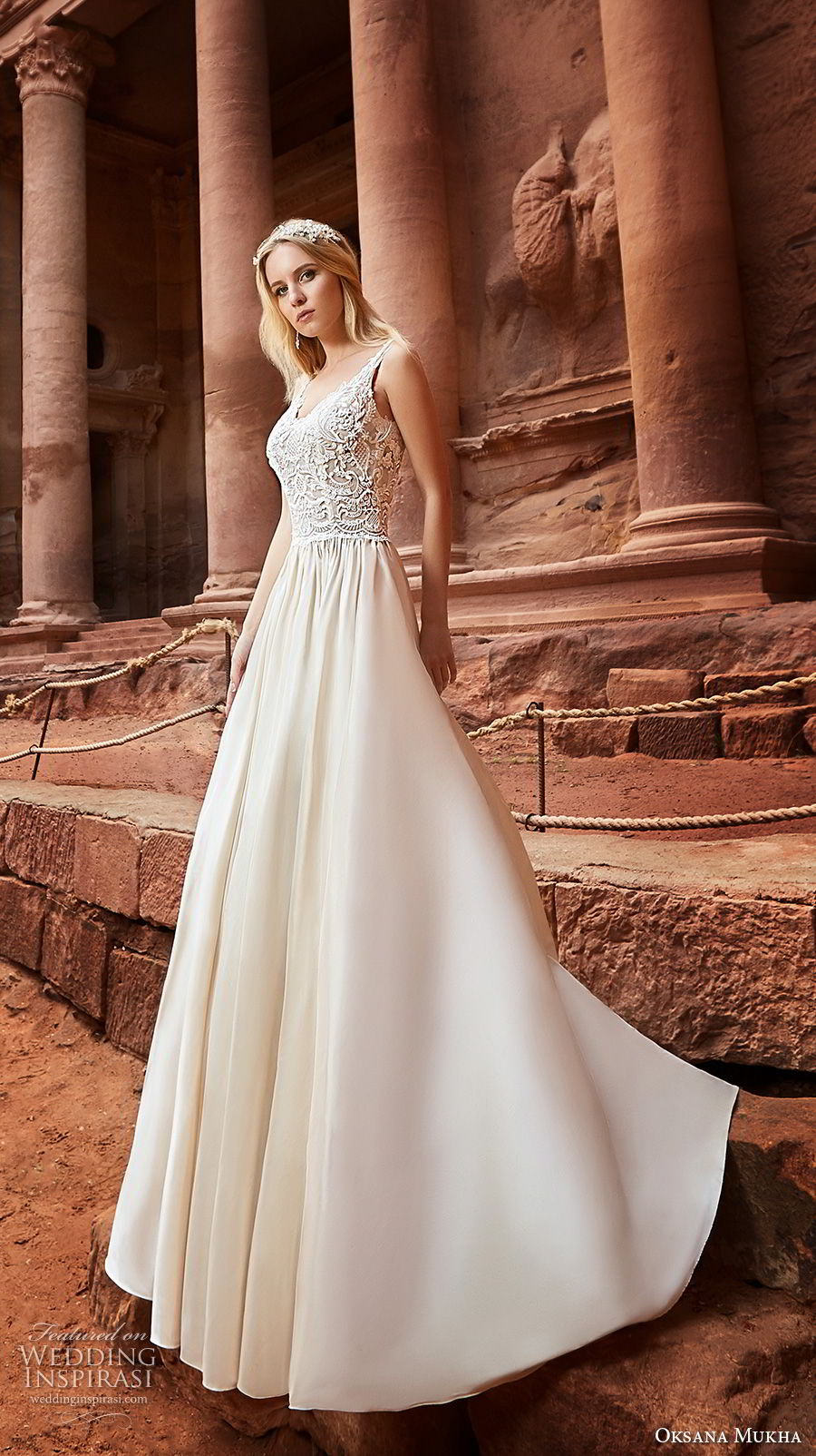 oksana mukha 2018 bridal sleeveless with strap scoop neckline heavily embellished bodice romantic a line wedding dress open v back chapel train (jordania) mv