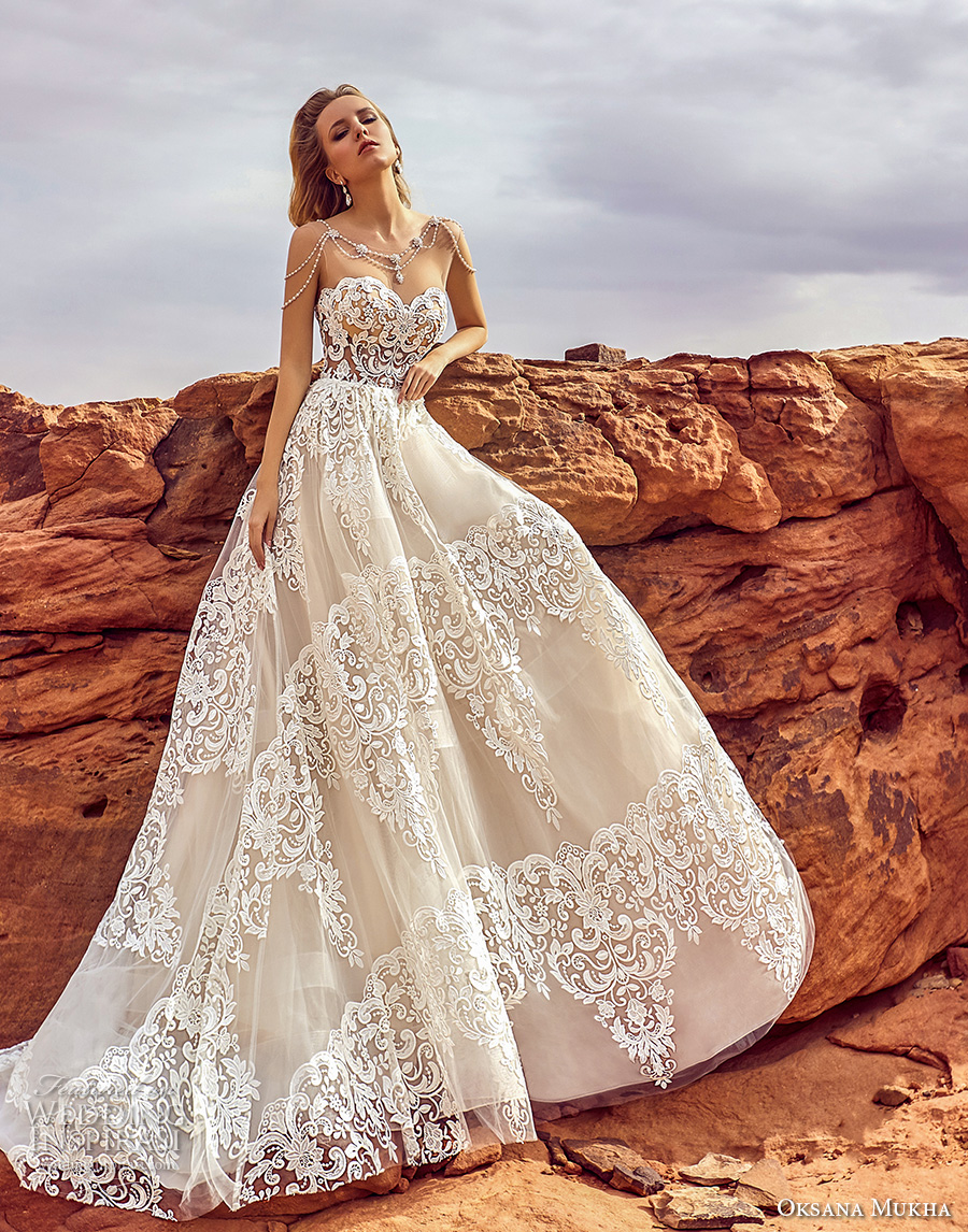oksana mukha 2018 bridal strapless sweetheart neckline full embellishment romantic elegant a line wedding dress chapel train (esfir) mv