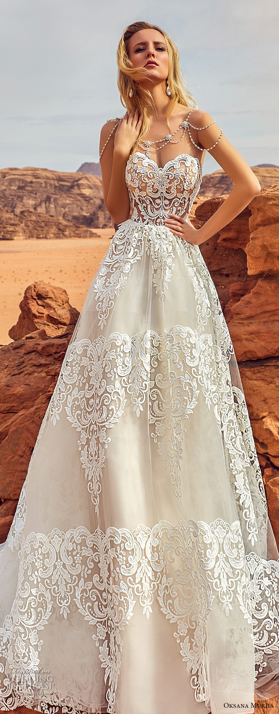 oksana mukha 2018 bridal strapless sweetheart neckline full embellishment romantic elegant a line wedding dress chapel train (esfir) zv