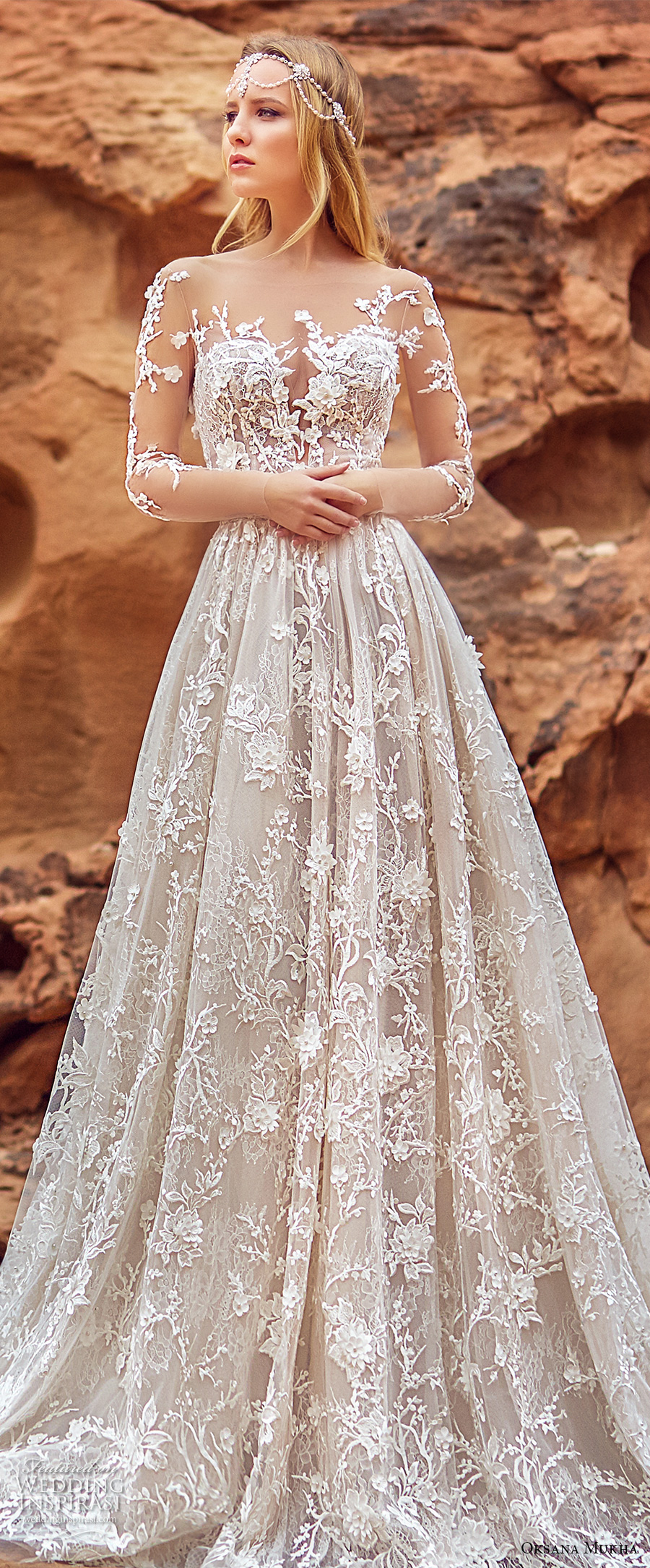 oksana mukha 2018 bridal three quarter sleeves sweetheart neckline full embellishment princess a line wedding dress with pockets open back royal train (lilana) zv