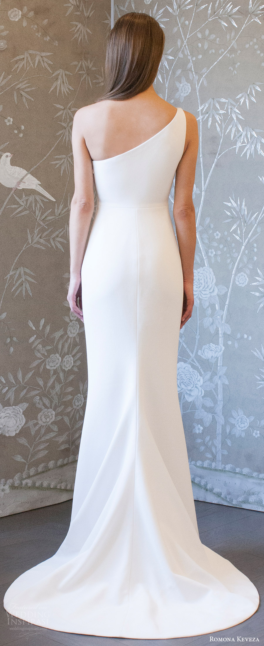romona keveza spring 2018 bridal one shoulder unembellished sheath wedding dress (rk8401) bv clean modern