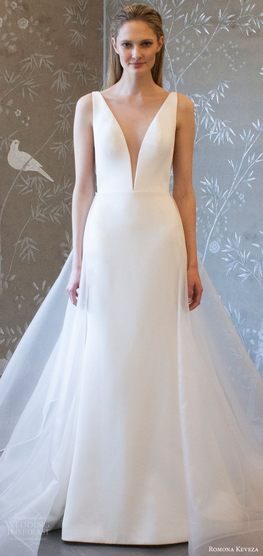 romona keveza spring 2018 bridal sleeveless deep v neck a line trumpet wedding dress (rk8400) mv detachable overskirt modern