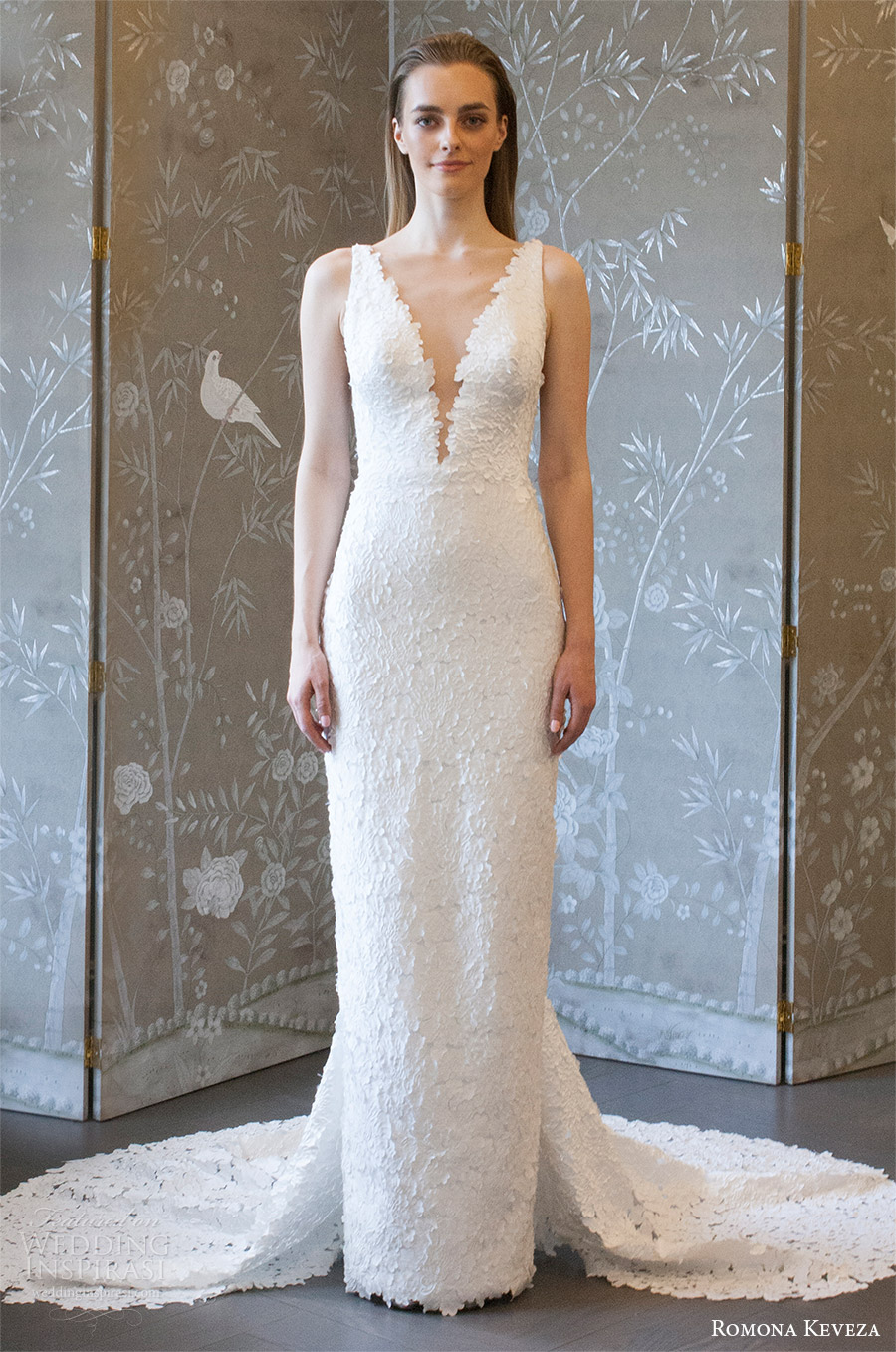 romona keveza spring 2018 bridal sleeveless deep v neck lace sheath wedding dress (rk8406) mv v back elegant chapel train