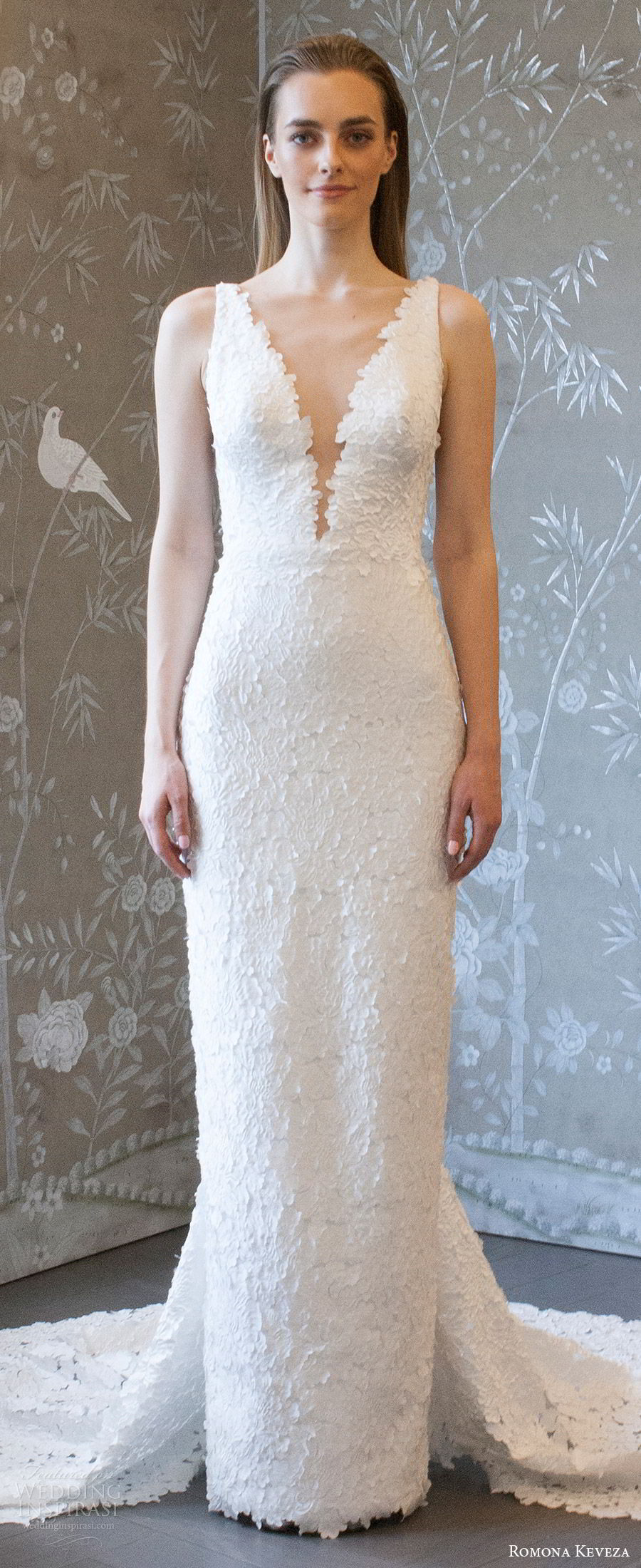 romona keveza spring 2018 bridal sleeveless deep v neck lace sheath wedding dress (rk8406) zv v back elegant chapel train