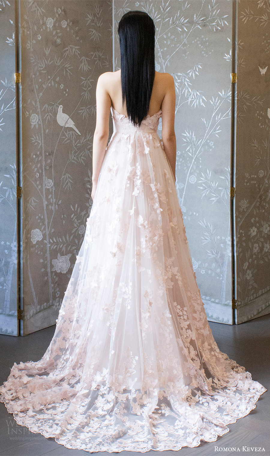 romona keveza spring 2018 bridal sleeveless halter deep v neck embellished lace a line wedding dress (rk8405) bv blush color romantic train