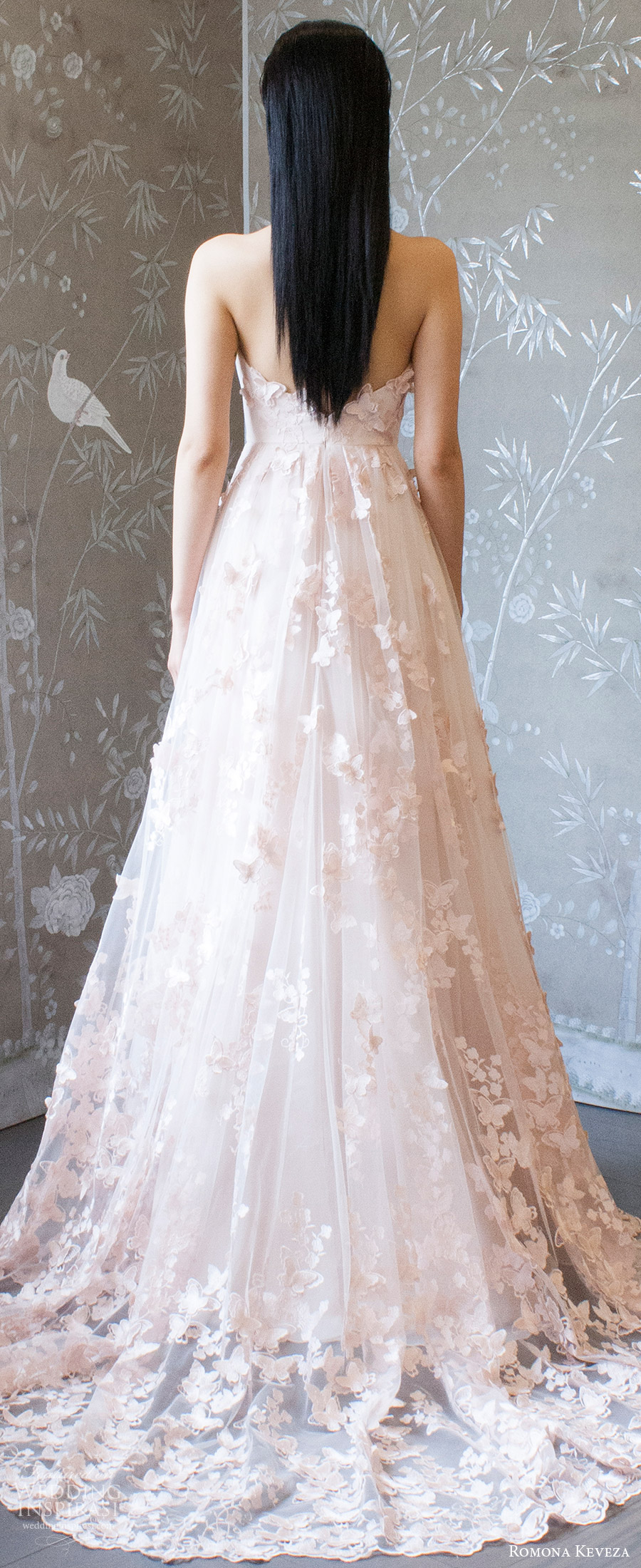 romona keveza spring 2018 bridal sleeveless halter deep v neck embellished lace a line wedding dress (rk8405) zbv blush color romantic train