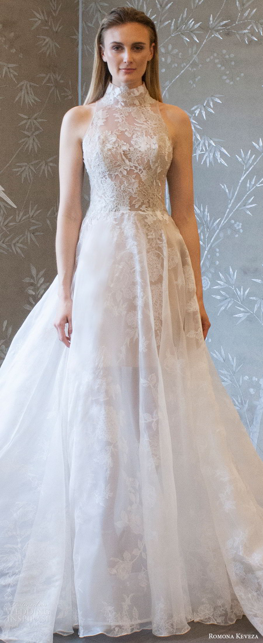 romona keveza spring 2018 bridal sleeveless high neck illusion bodice lace a line wedding dress (rk8407) zv elegant romantic cathedral train