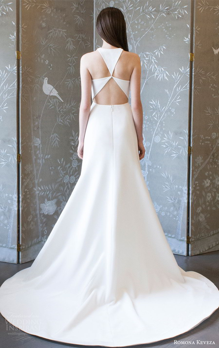 romona keveza spring 2018 bridal sleeveless jewel neck a line wedding dress (rk8403) bv clean keyhole modern sweep train