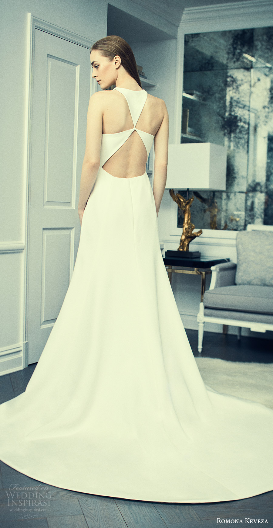 romona keveza spring 2018 bridal sleeveless jewel neck a line wedding dress (rk8403) fv clean keyhole modern sweep train