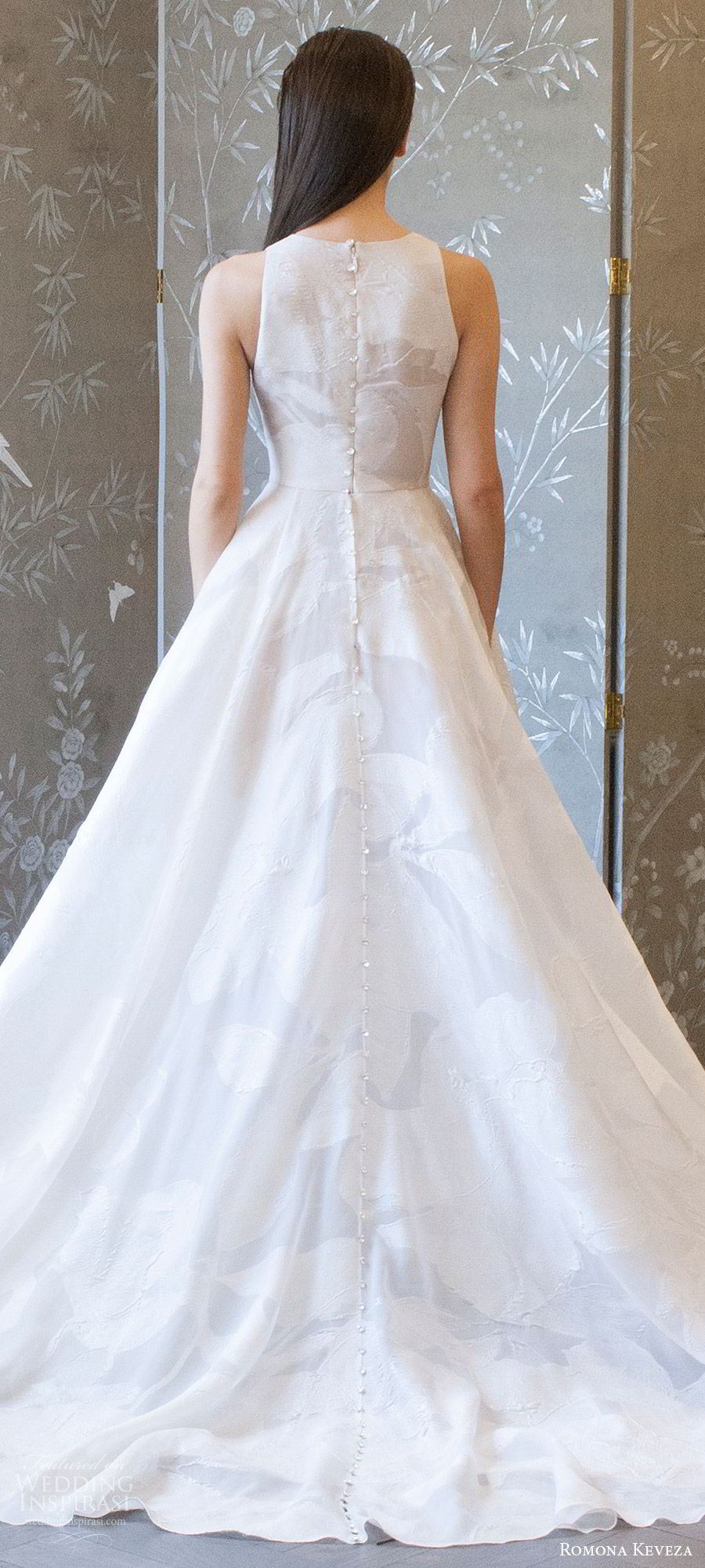 romona keveza spring 2018 bridal sleeveless jewel neck a line wedding dress (rk8404) bv train modern romantic