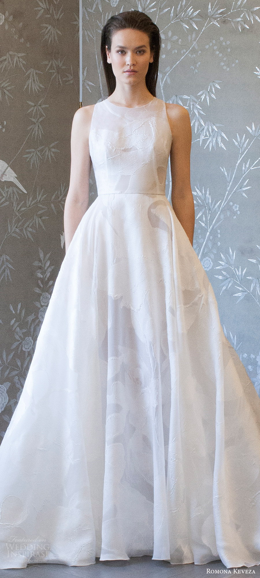 romona keveza spring 2018 bridal sleeveless jewel neck a line wedding dress (rk8404) mv train modern romantic