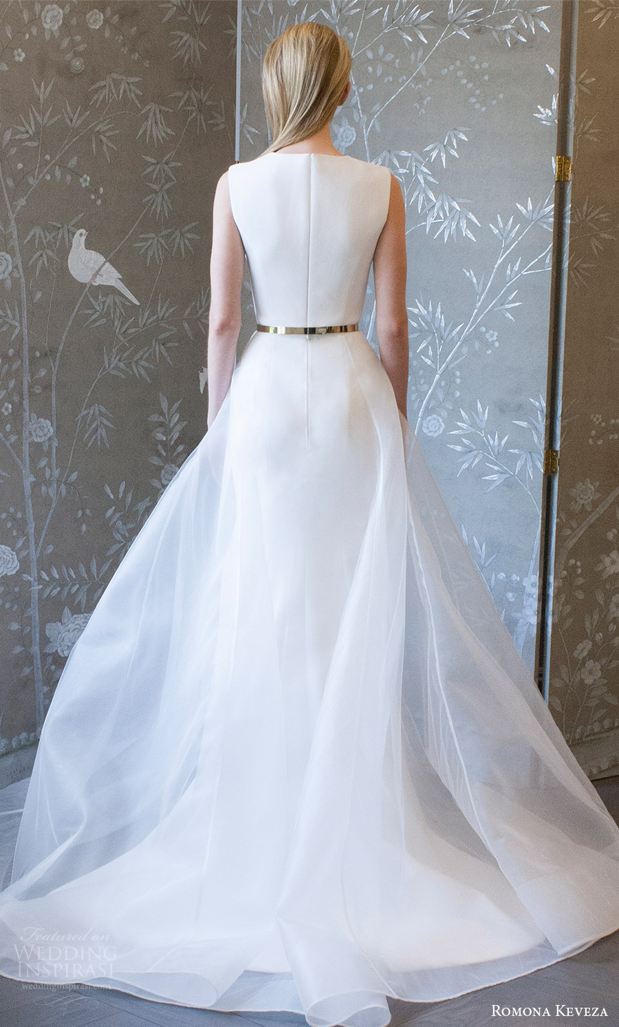 romona keveza spring 2018 bridal sleeveless jewel neck sheath trumpet wedding dress sheer overskirt belt (rk8400) bv clean elegant modern sweep train