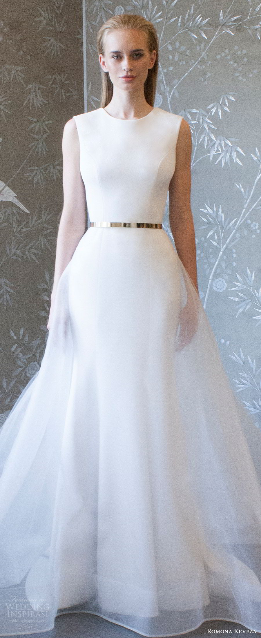 romona keveza spring 2018 bridal sleeveless jewel neck sheath trumpet wedding dress sheer overskirt belt (rk8400) zv clean elegant modern sweep train