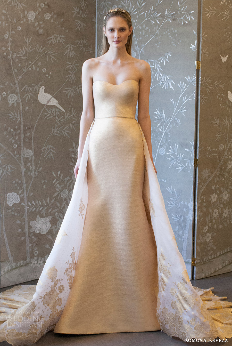 romona keveza spring 2018 bridal strapless sweetheart mermaid wedding dress (rk8410) mv gold color lace a line overskirt chapel train