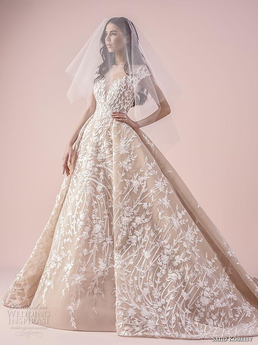 saiid kobeisy 2018 bridal cap sleeves illusion bateau sweetheart neckline full embellishment romantic princess ball gown wedding dress (3259) mv