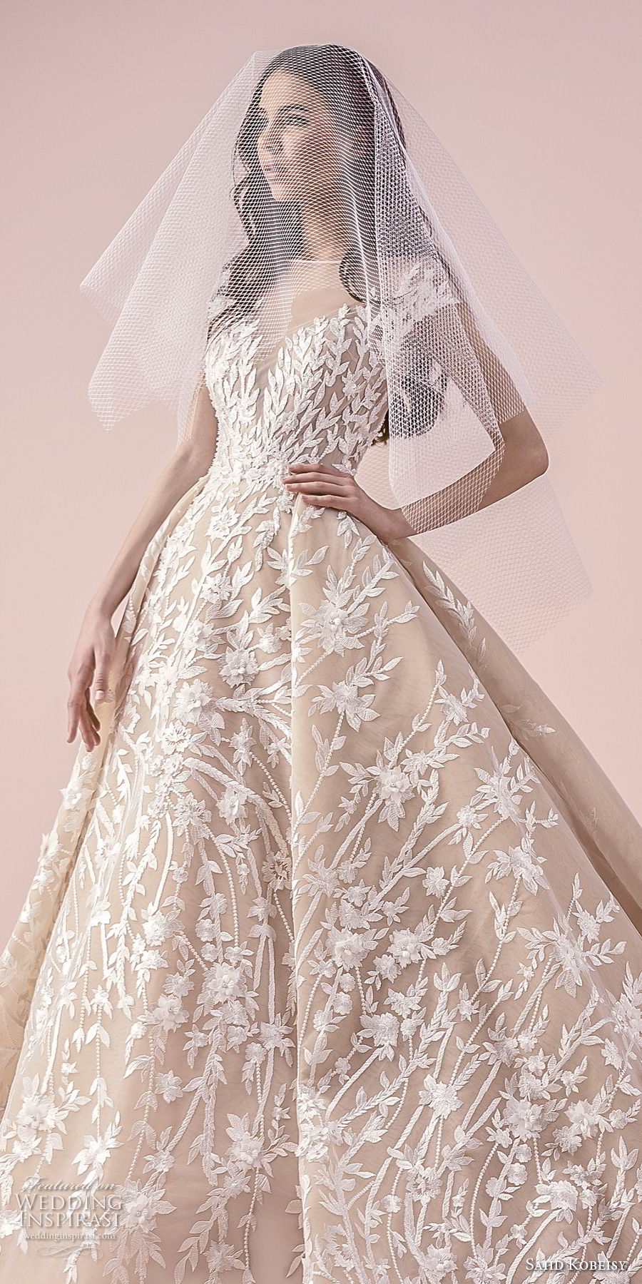 saiid kobeisy 2018 bridal cap sleeves illusion bateau sweetheart neckline full embellishment romantic princess ball gown wedding dress (3259) zv