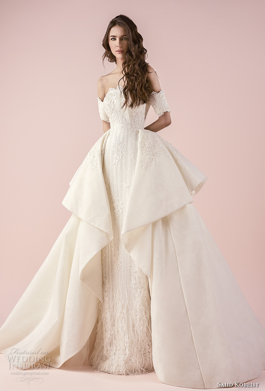 saiid kobeisy 2018 bridal half sleeves off the shoulder straight across scallop neckline full embellishment elegant princess sheath wedding dress a  line overskirt (3234) mv