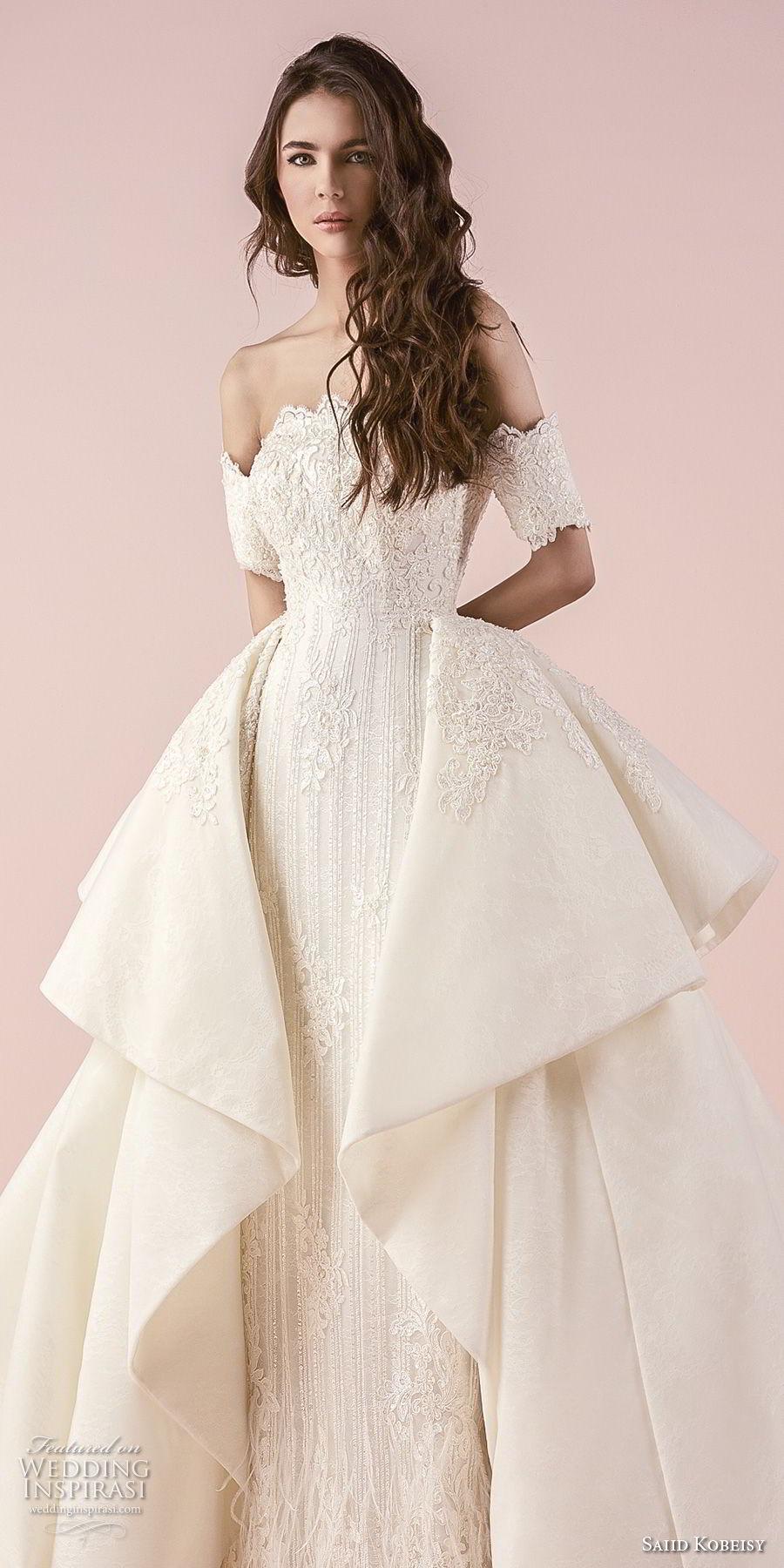 saiid kobeisy 2018 bridal half sleeves off the shoulder straight across scallop neckline full embellishment elegant princess sheath wedding dress a  line overskirt (3234) zv
