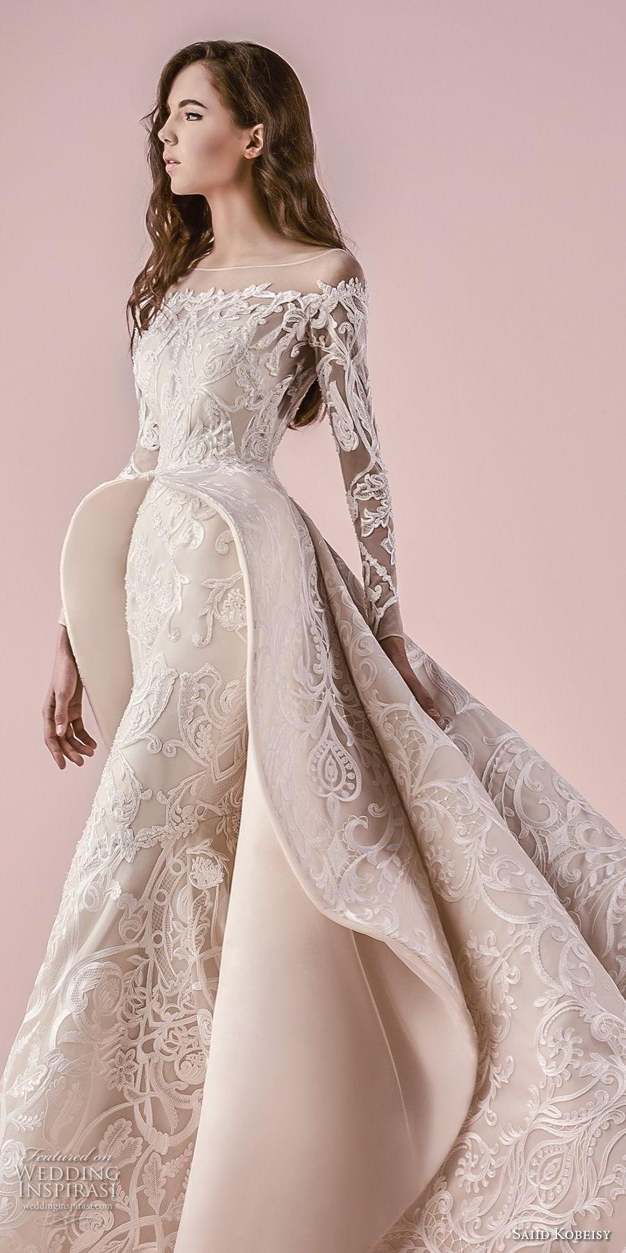 saiid kobeisy 2018 bridal long sleeves illusion bateau off the shoulder neckline full embellishment pepblum glamorous princess a  line wedding dress chapel train (3266) zv